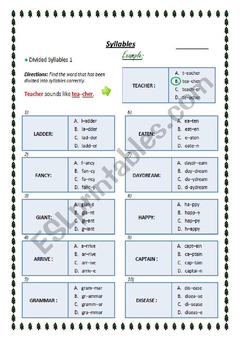 syllables worksheet