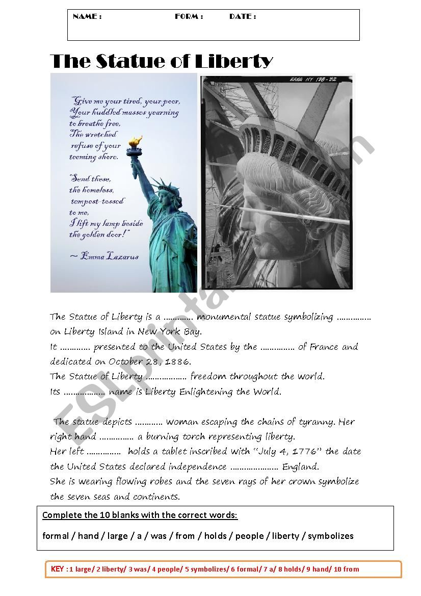 THE SATUE OF LIBERTY  worksheet