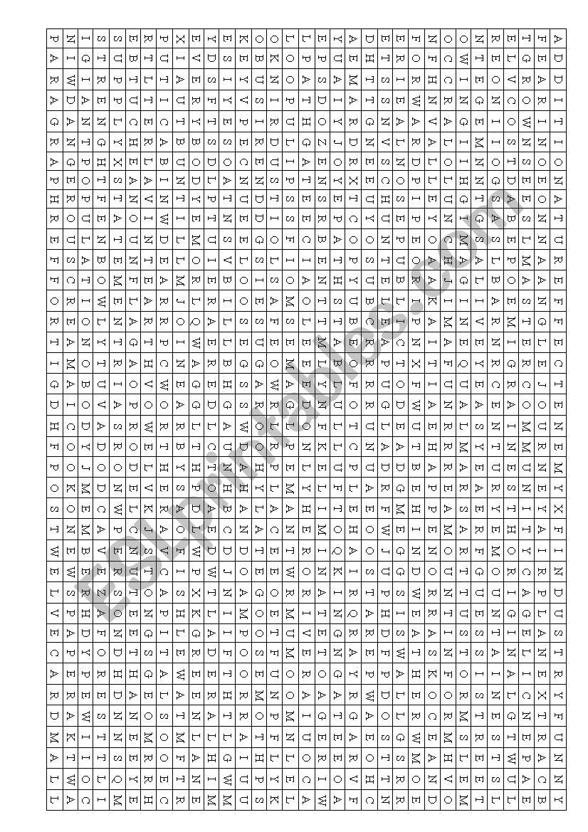 photograph regarding 100 Word Word Search Printable named Wordsearch +100 text - ESL worksheet by way of Joana77