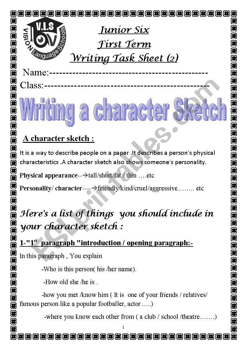 writing a character sketch  esl worksheetnohamohamed
