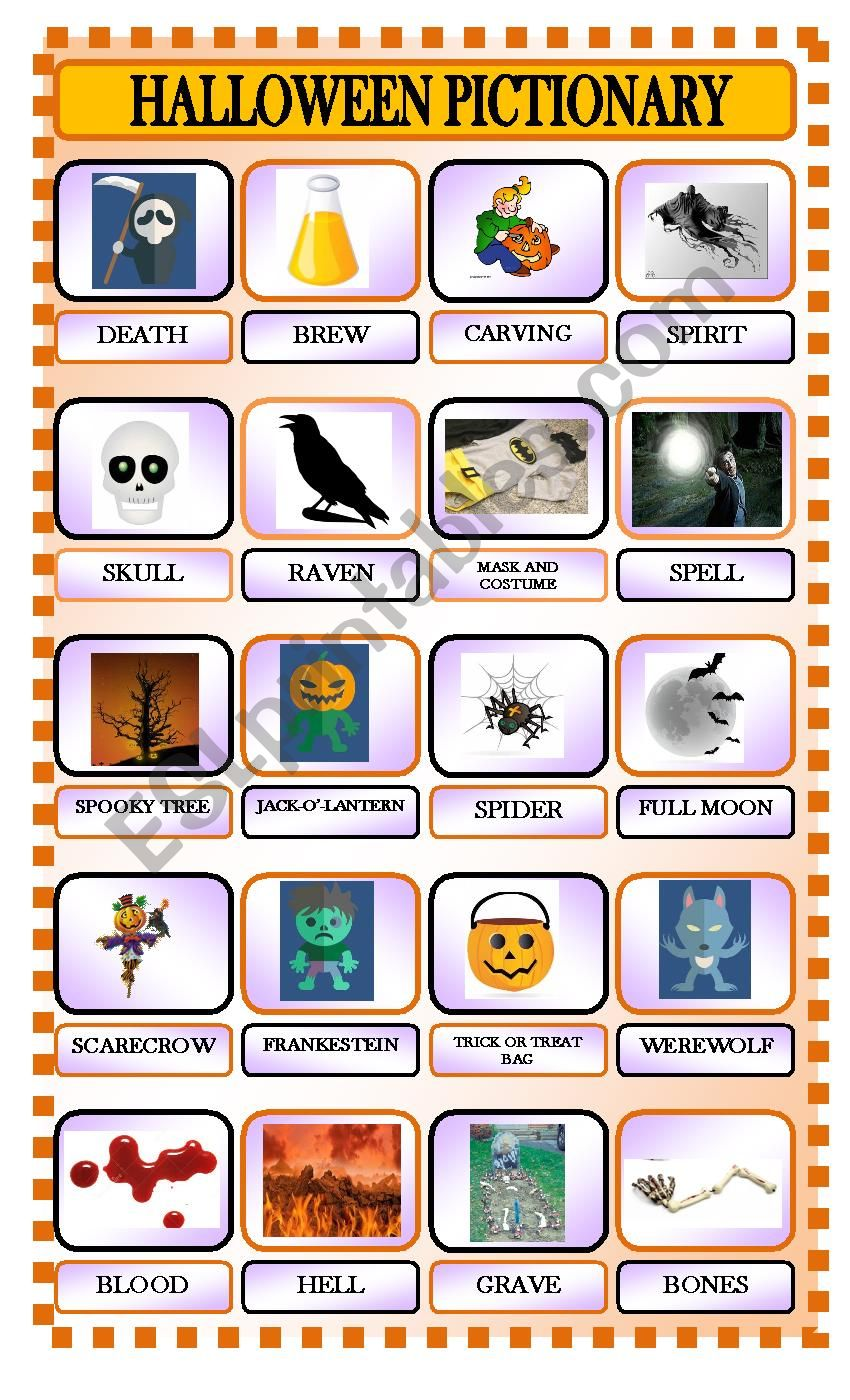 halloween pictionary part 2 worksheet