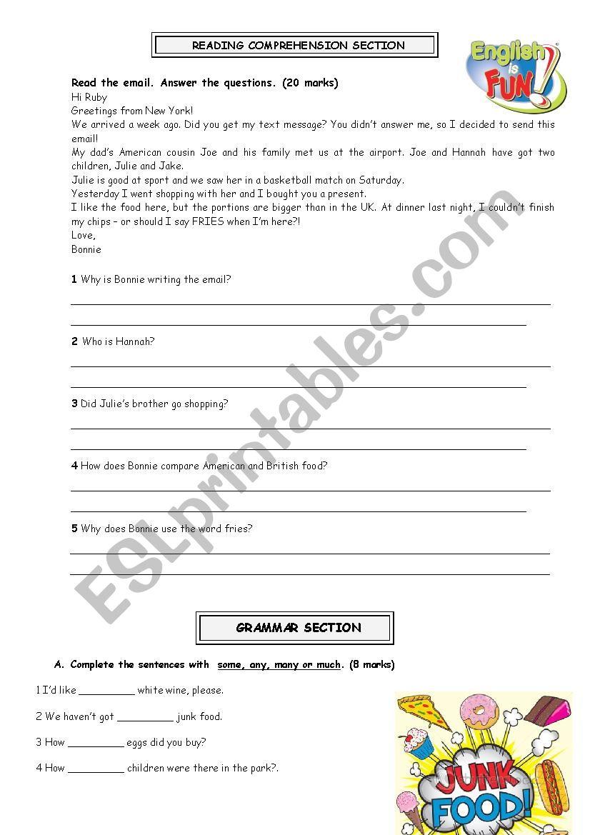 7th grade worksheet - ESL worksheet by elsa_fernandes