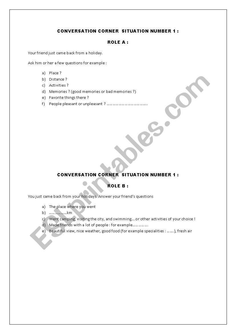 CONVERSATION CORNER ! worksheet