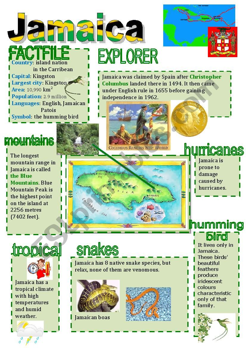 Jamaica facts worksheet
