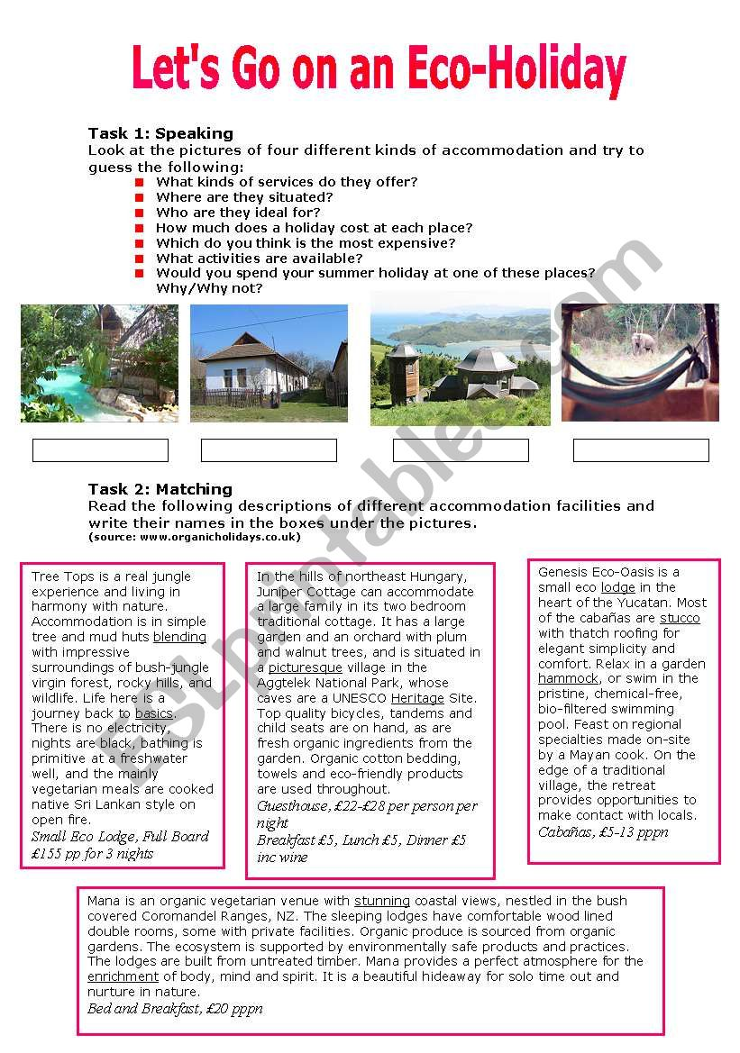Let´s Go on an Eco-Holiday worksheet