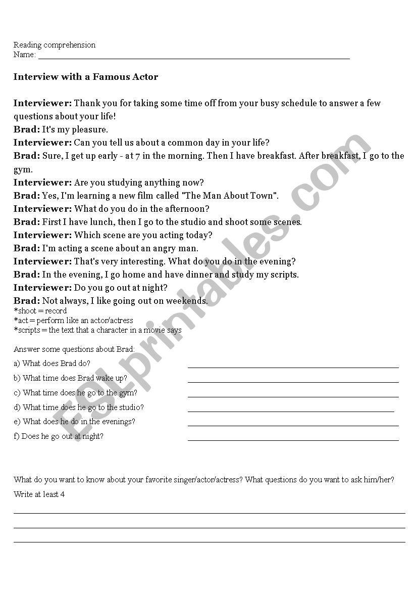 - Easy Reading Comprehension - ESL Worksheet By Flavialazaretti