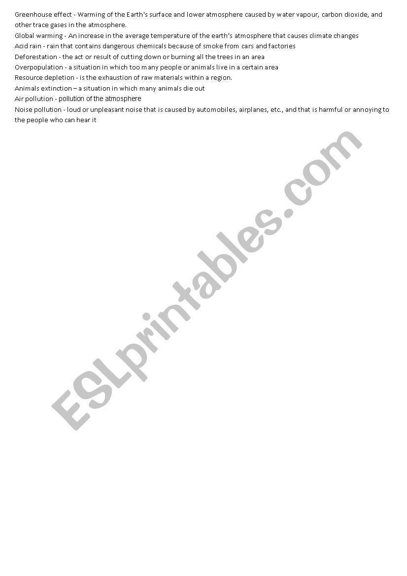 Ecological problems worksheet