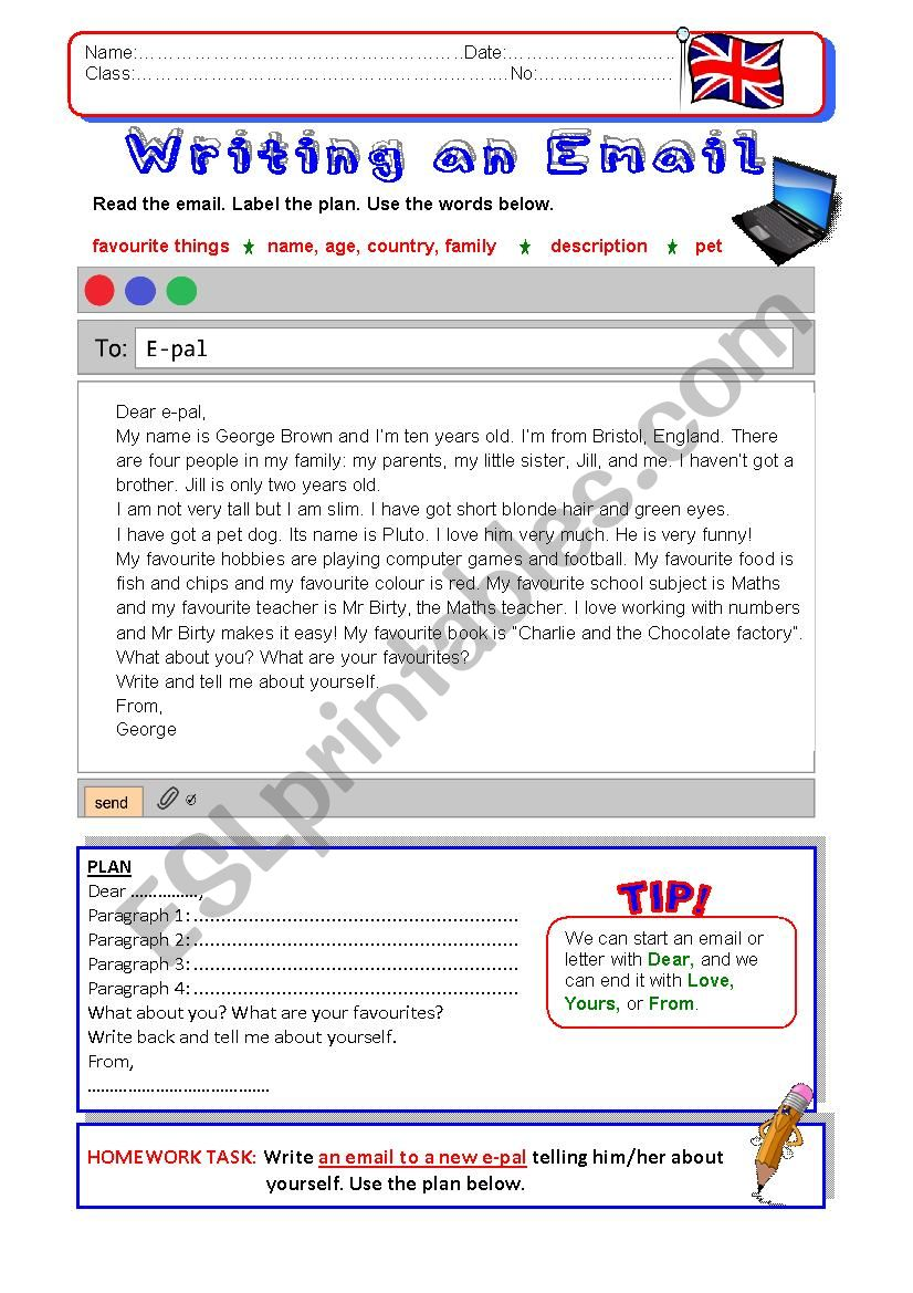 Writing an Email worksheet