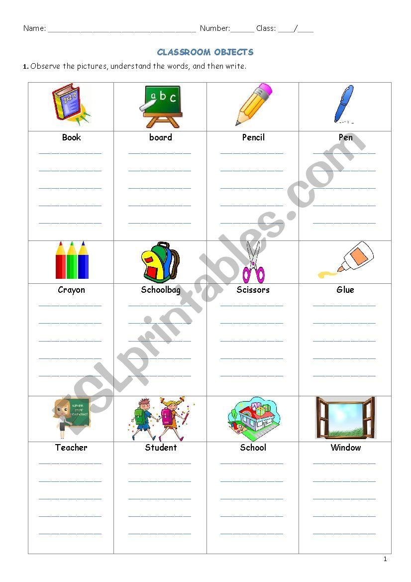 Classroom Materials worksheet