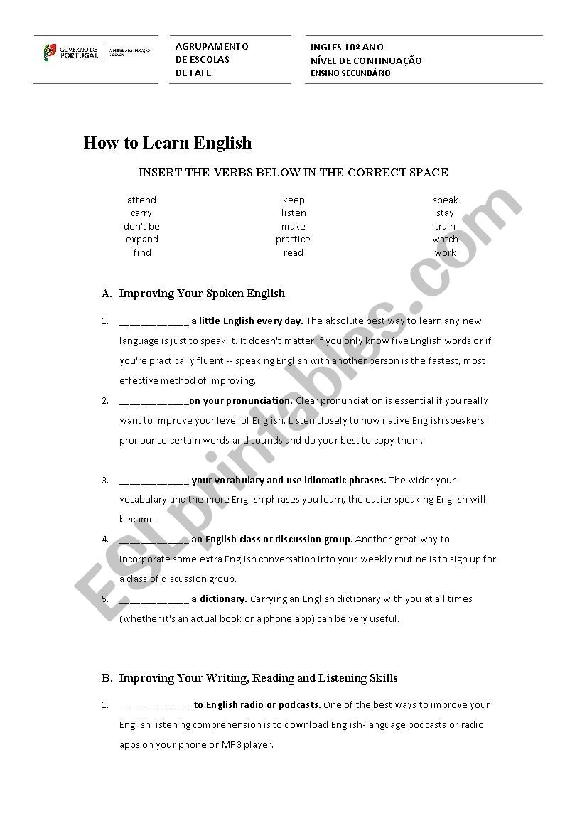 How to learn English worksheet