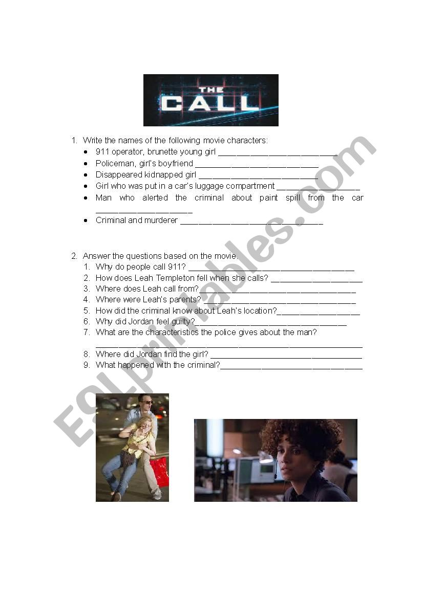 The Call - ESL worksheet by gremar