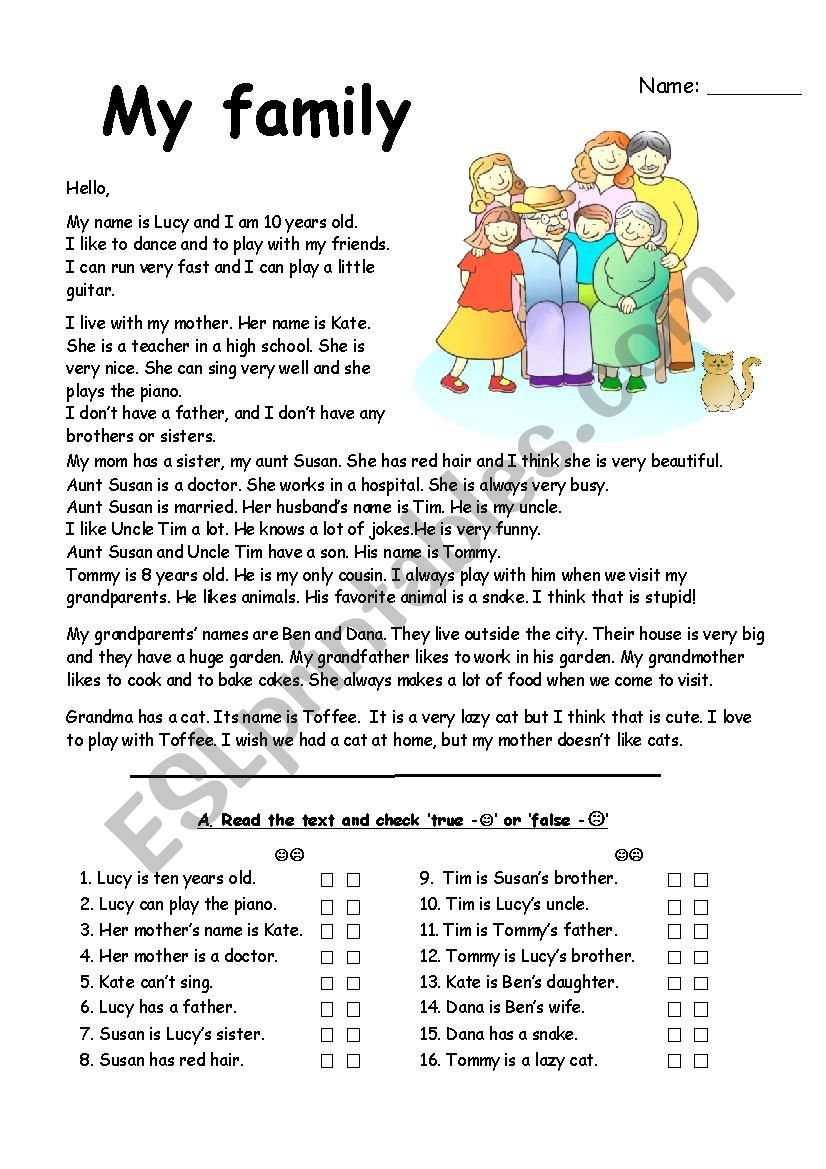 family reading comprehension with exercises - ESL