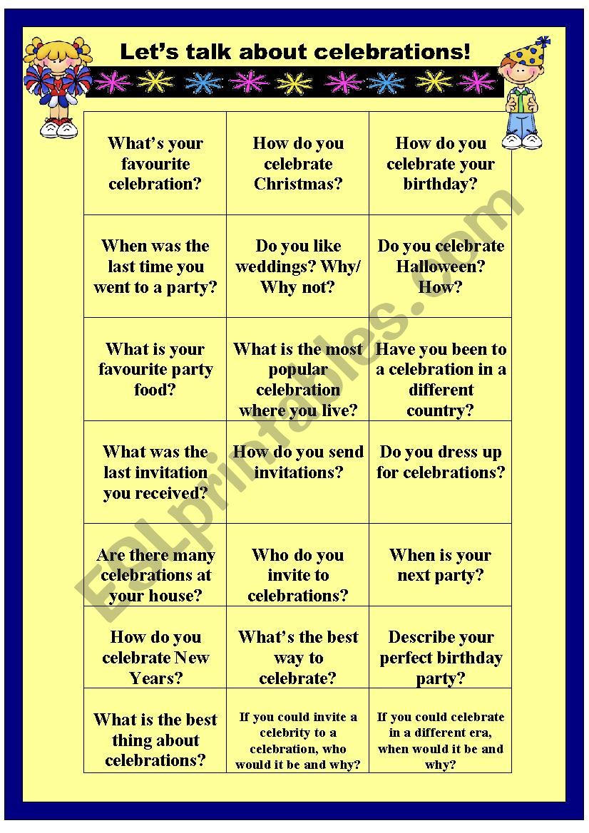 Let´s talok about celebrations - speaking cards