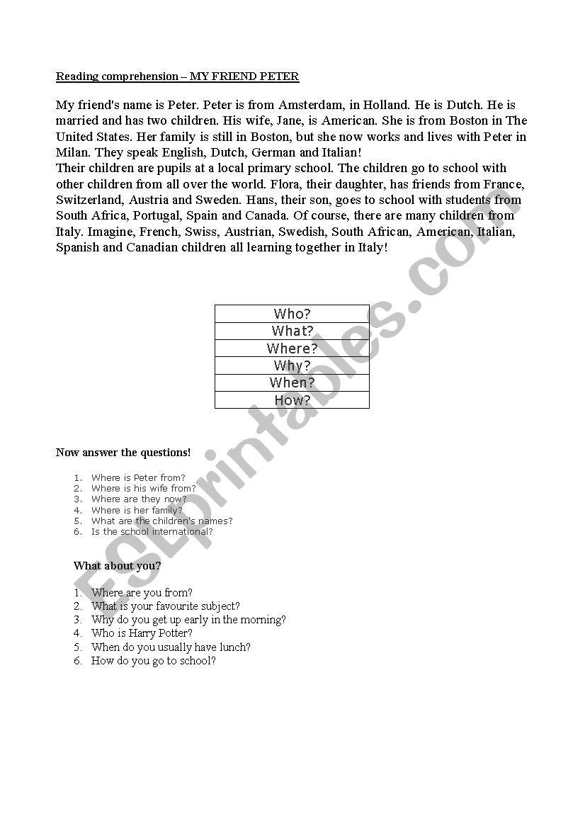 - Reading Comprehension (W Questions) - ESL Worksheet By Merenwen_Oronar