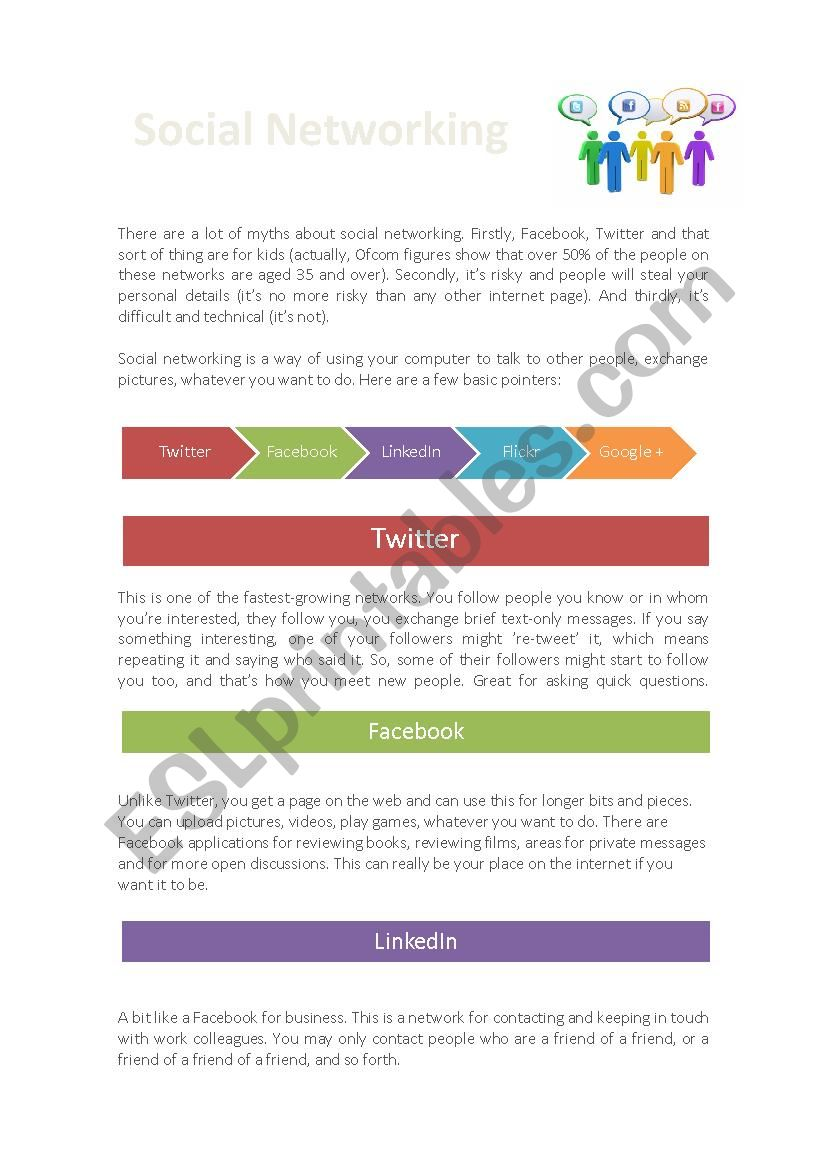 Social networking worksheet