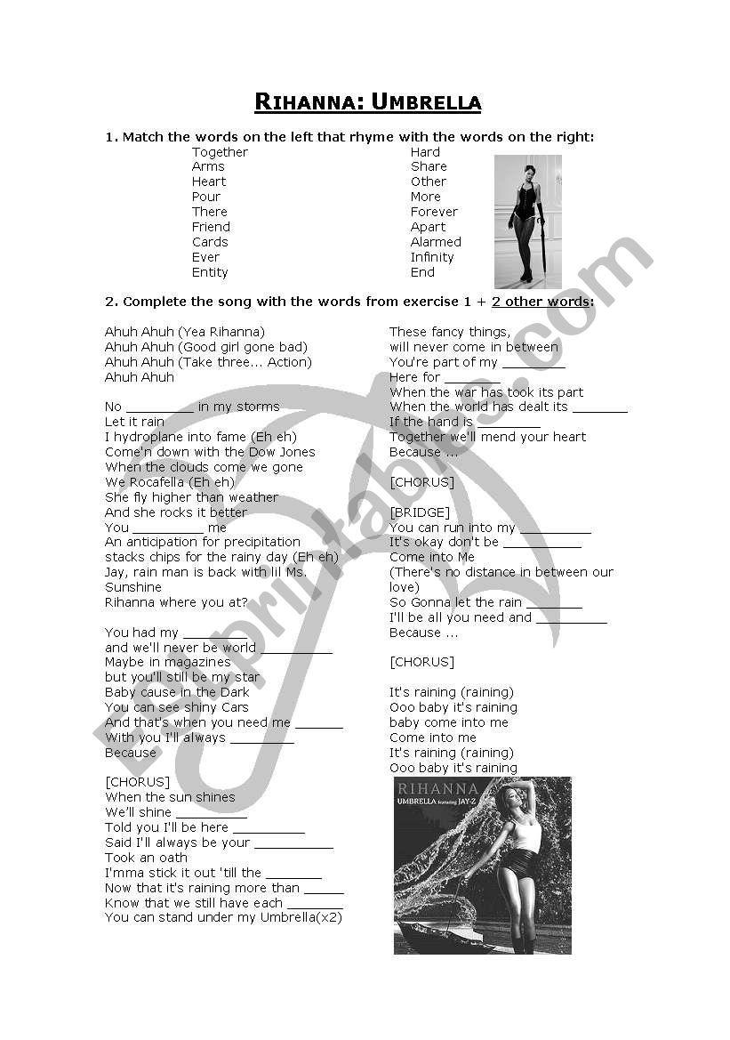 Rihanna - Umbrella worksheet