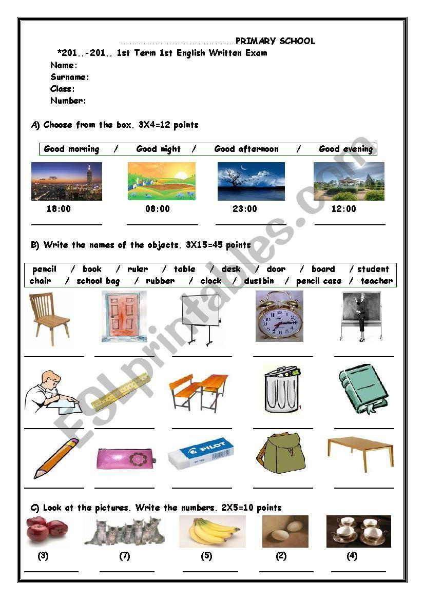 4th grade exam paper worksheet