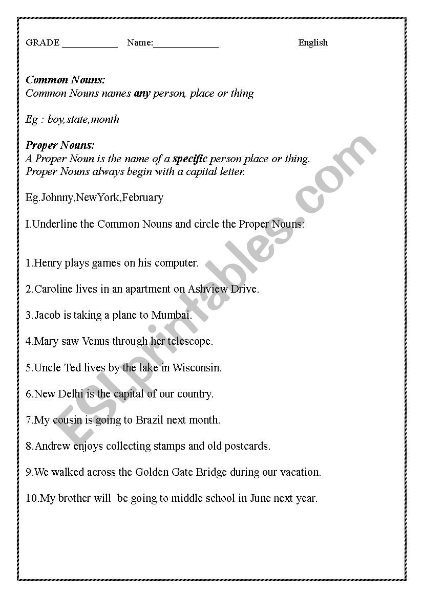 - English Worksheet On Common, Proper Nouns And Demonstrative