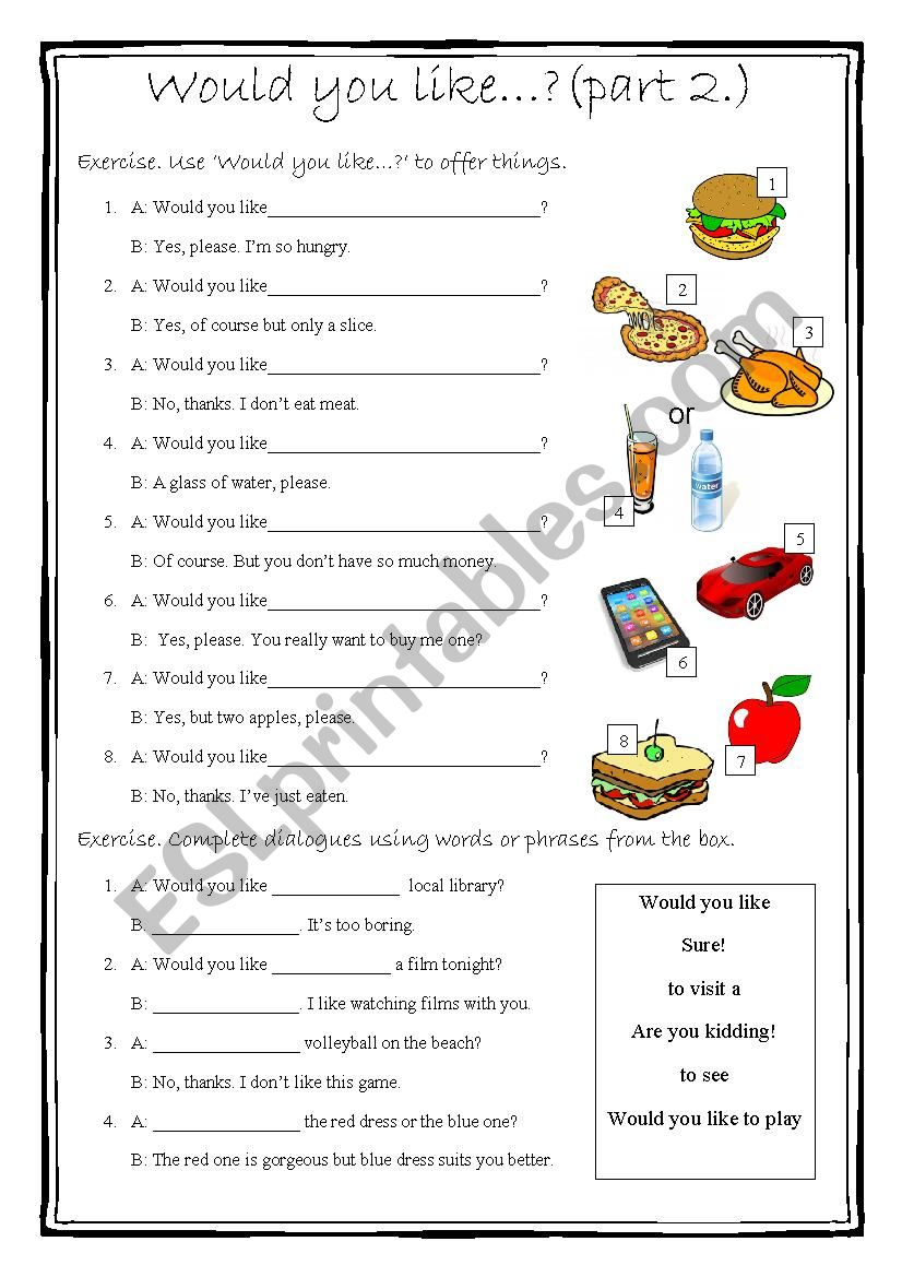 Would you like...? part 2. worksheet