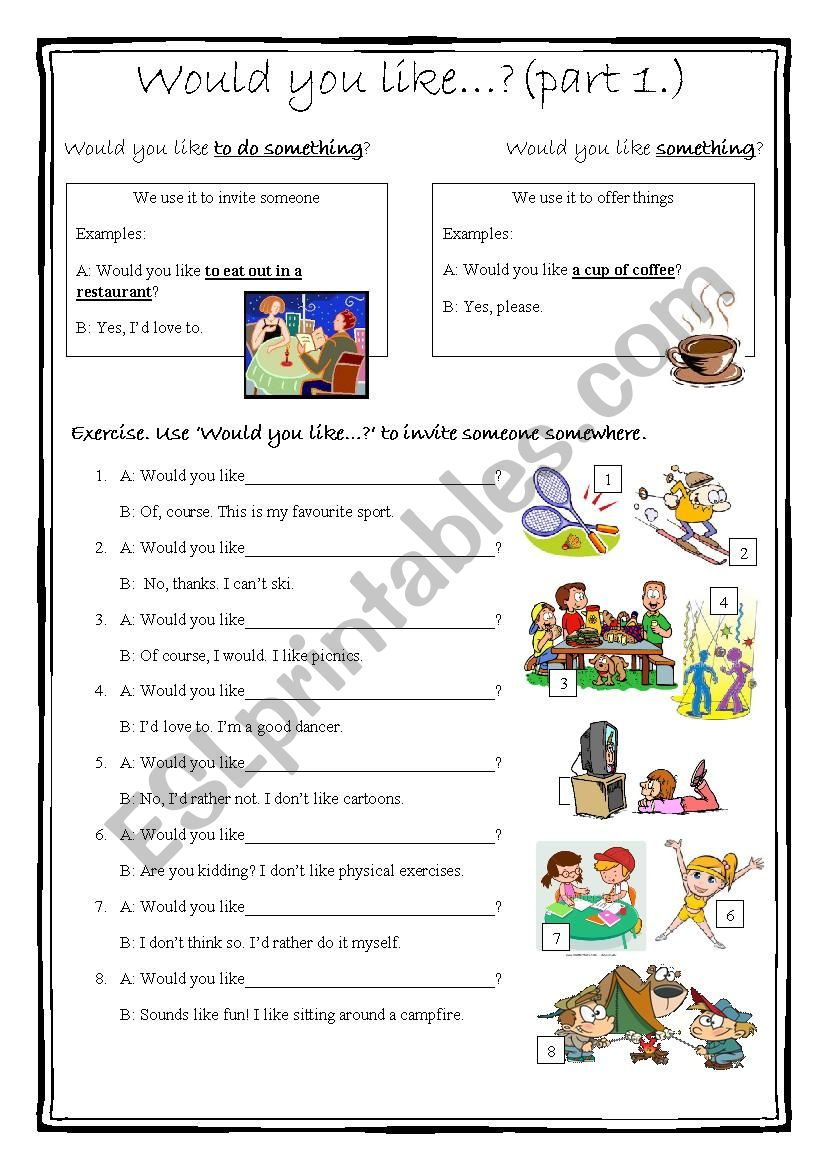 Would you like...? part 1. worksheet