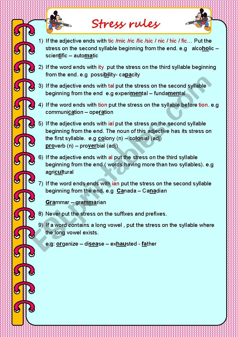Stress Rules Esl Worksheet By Haddou
