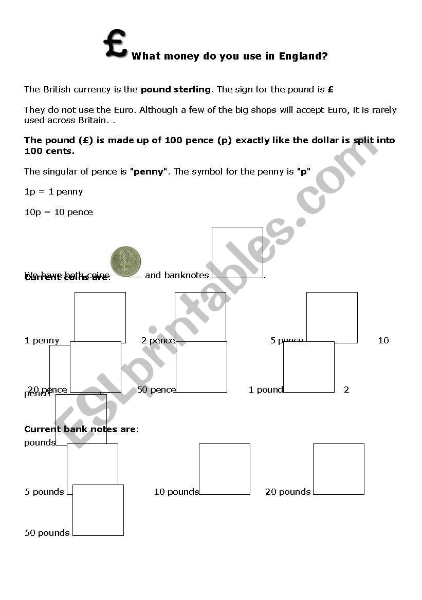 British money worksheet