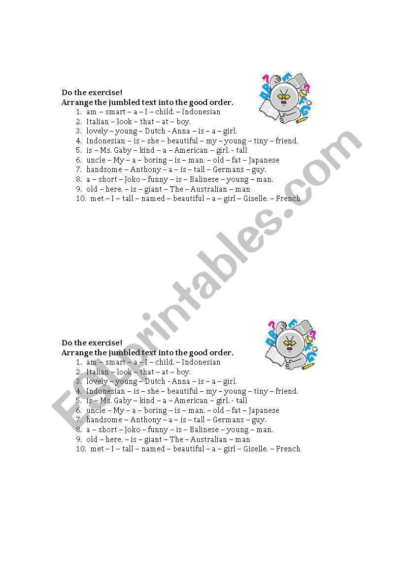 Adjective Order (OSASCOM) worksheet