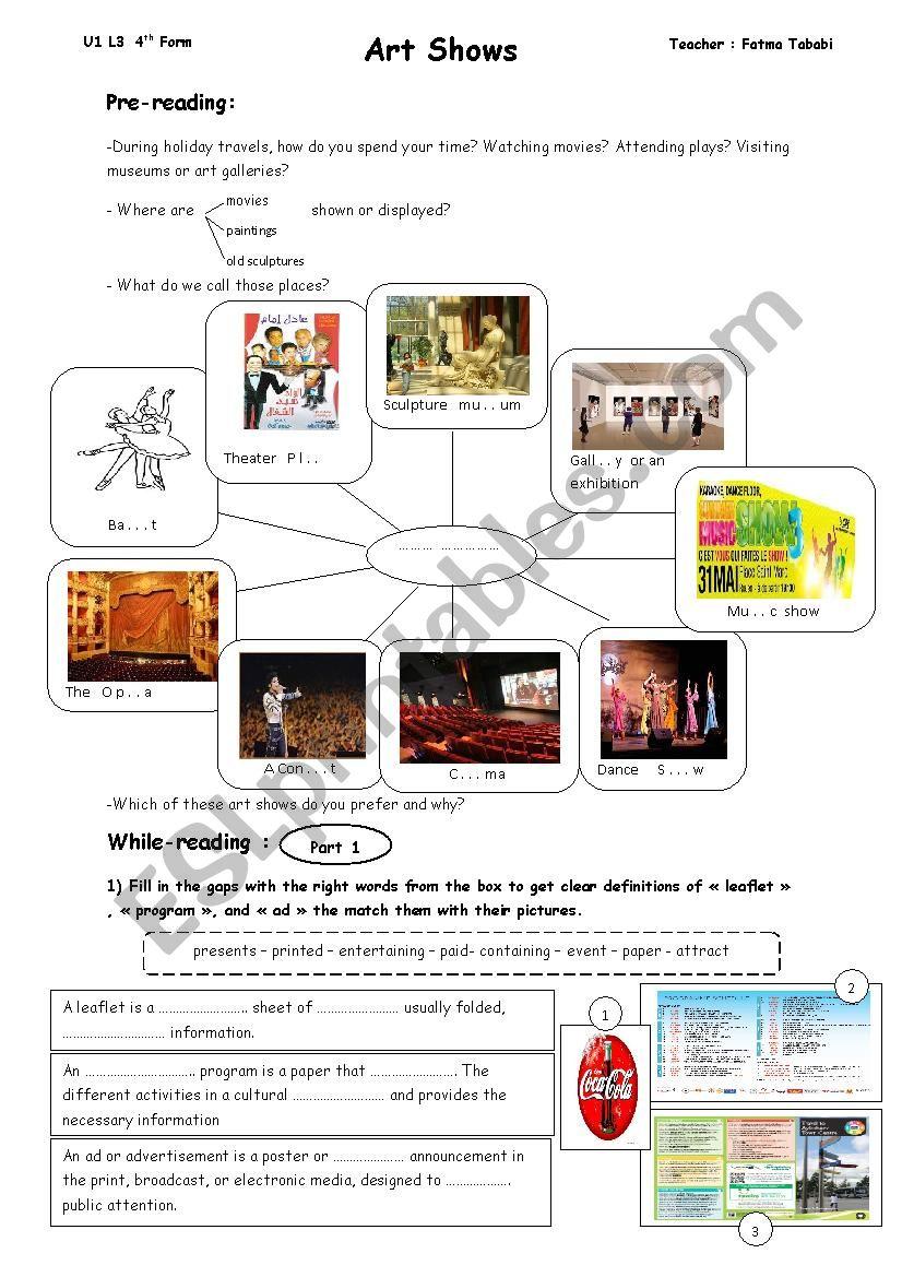 Art Shows (Unit 1 Lesson 3 4th form)