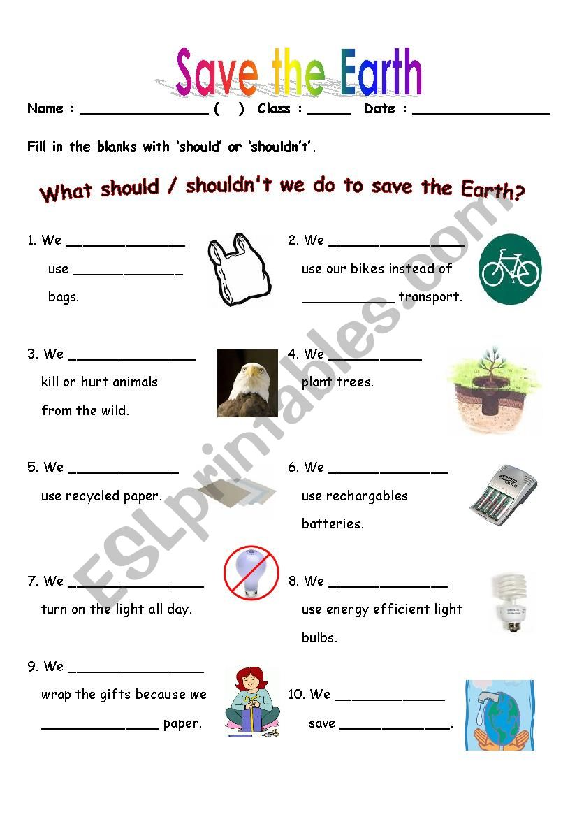save the earth esl worksheet by suzannapoon. Black Bedroom Furniture Sets. Home Design Ideas