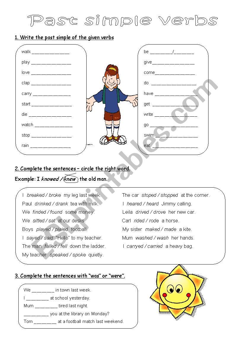 Past simple verbs worksheet