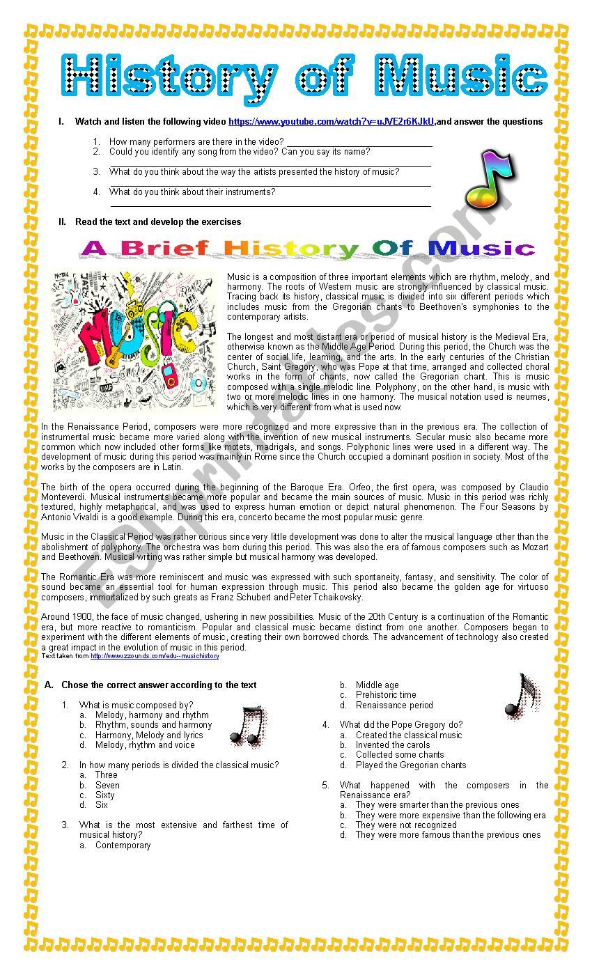 The History of Music worksheet