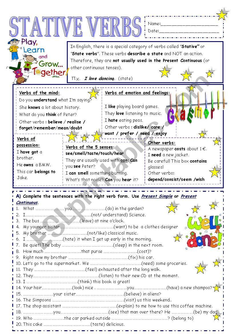 Stative verbs - ESL worksheet by vickyvar