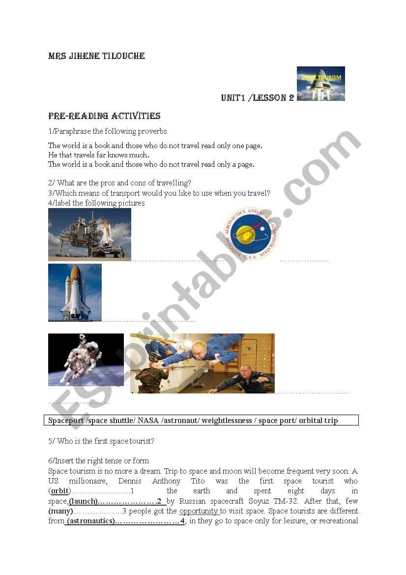 Unit 1 lesson : Space tourism ( part 1)