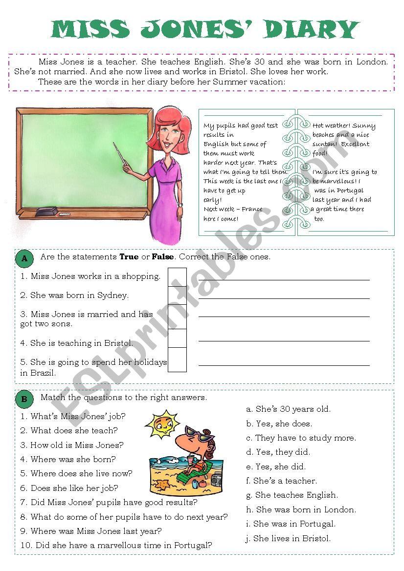 Miss Jones´ Diary worksheet