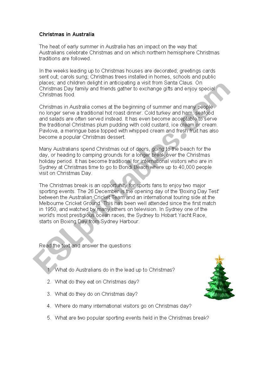 Christmas Camping Australia.Christmas In Australia Esl Worksheet By Fionakoop