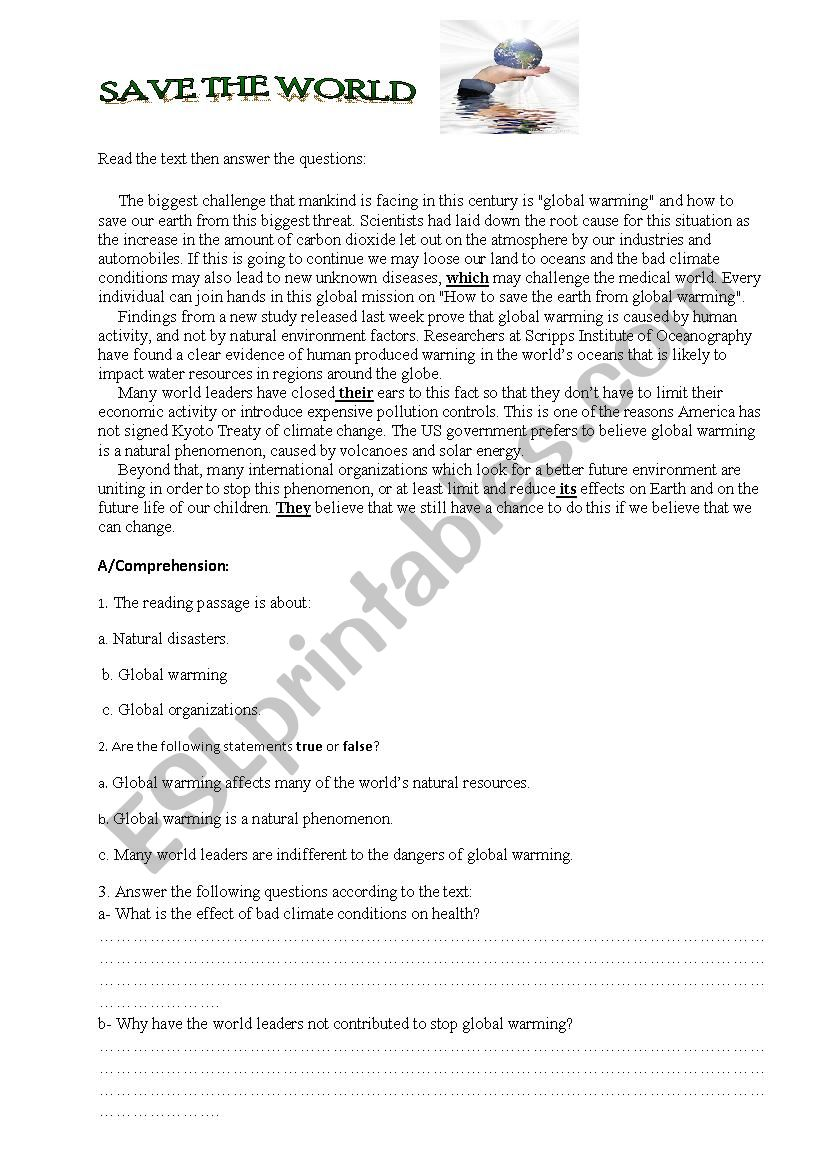 Exam global warming  worksheet