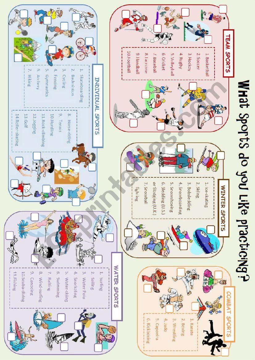 Leisure Activities - Sports - Vocabulary Worksheet