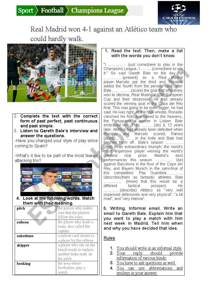 Reading, listening and writing about Gareth Bale