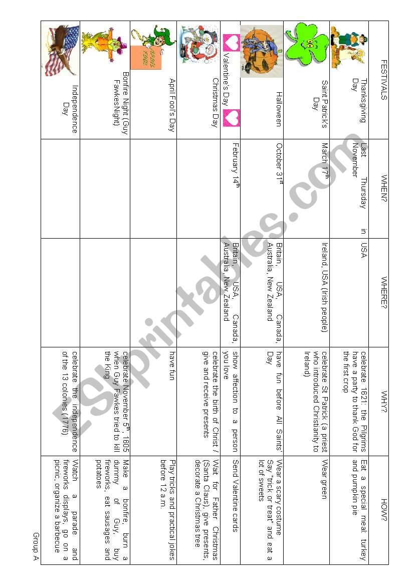 Festivals and special dates worksheet