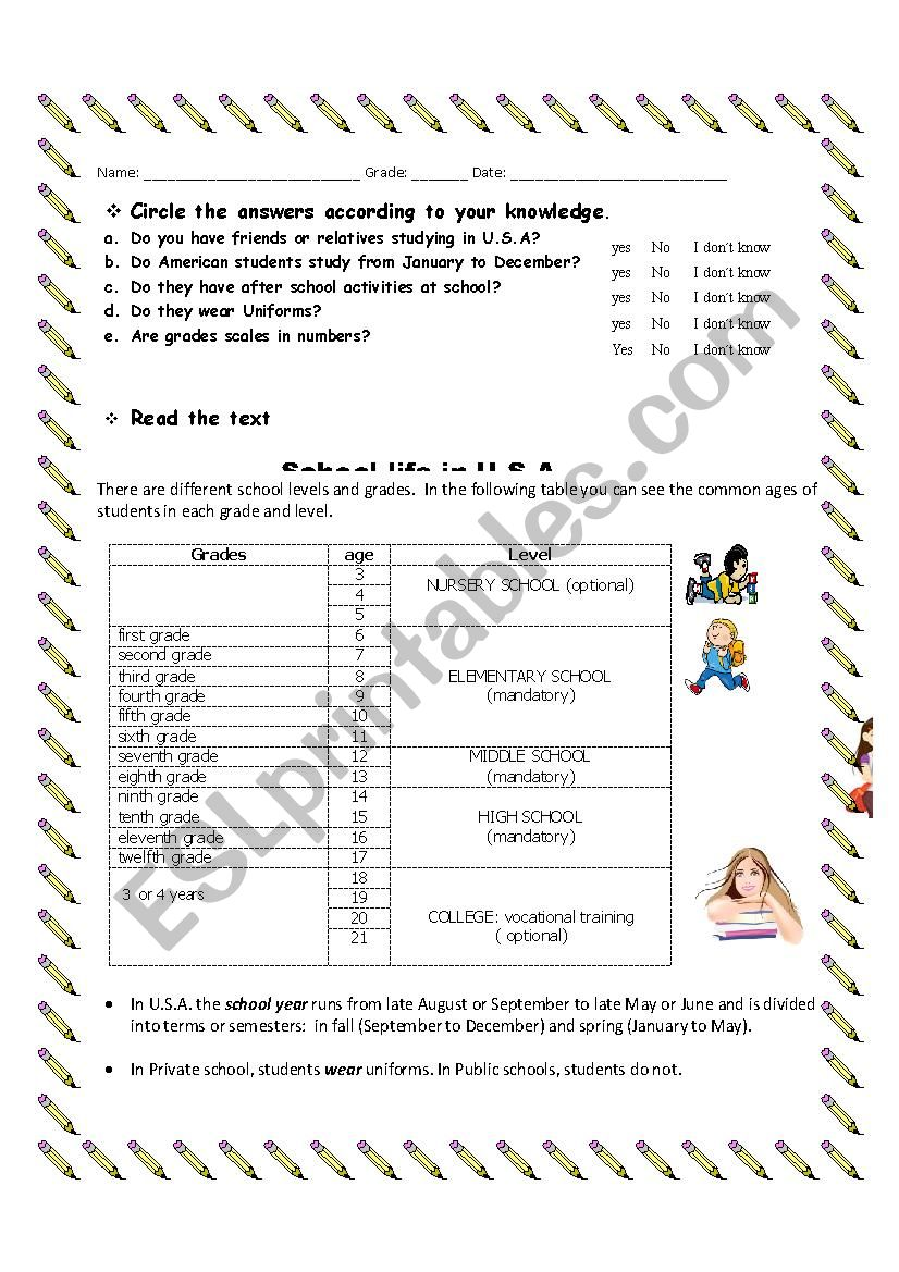 school system in USA worksheet