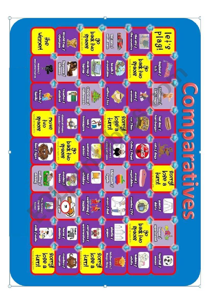 Comparatives Board Game worksheet
