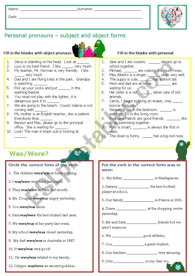 Revisions for 6th grade worksheet