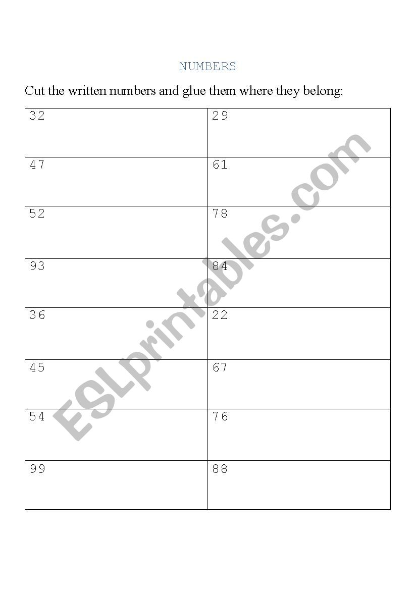 NUMBERS FROM 20 TO 99 worksheet
