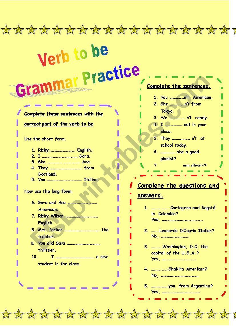 Verb to be - Grammar Practice worksheet