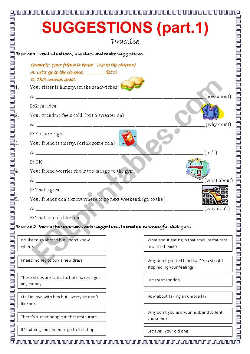Suggestions - part 1. worksheet