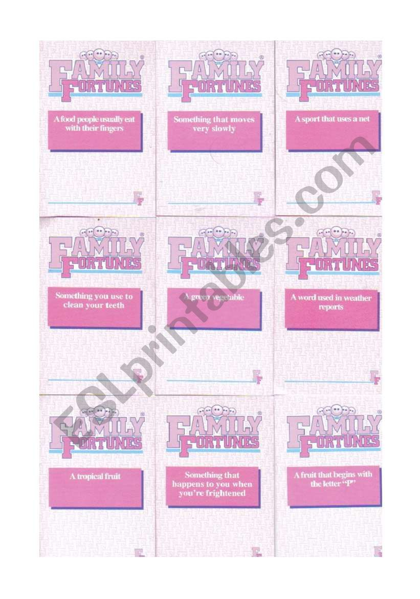 Family Fortunes cards 2/4 worksheet