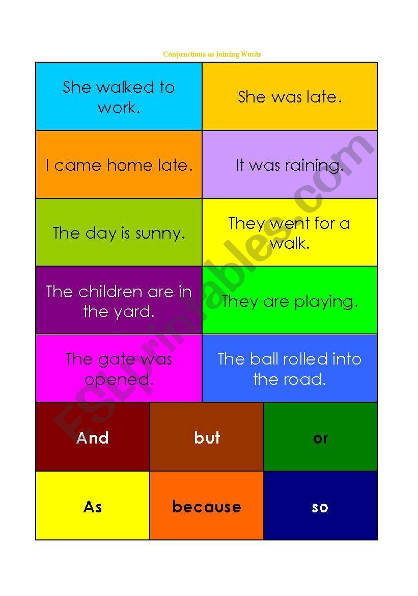 Conjunctions as Joining Words Card Game