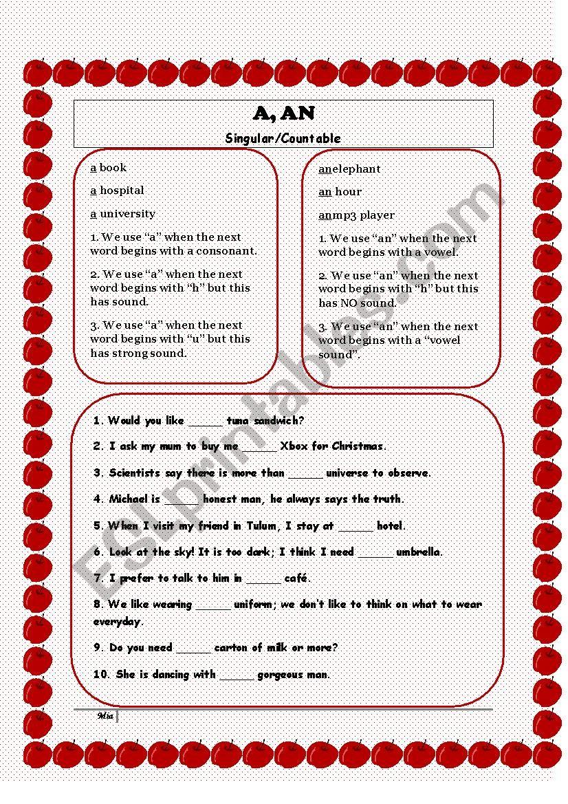 A, An worksheet