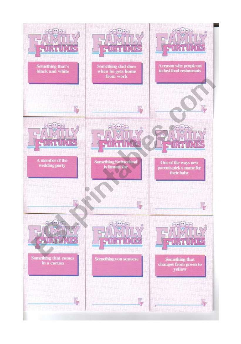 Family Fortunes cards 3/4 worksheet