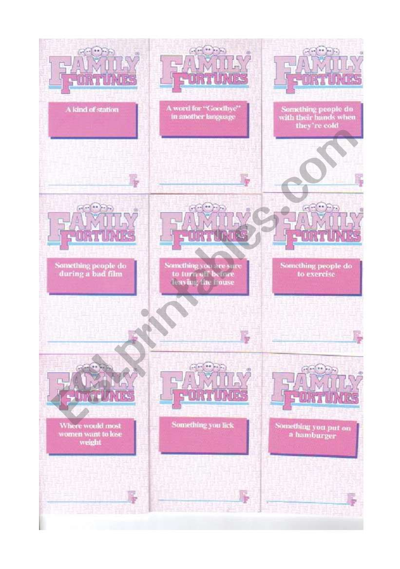 Family Fortunes cards 4/4 worksheet